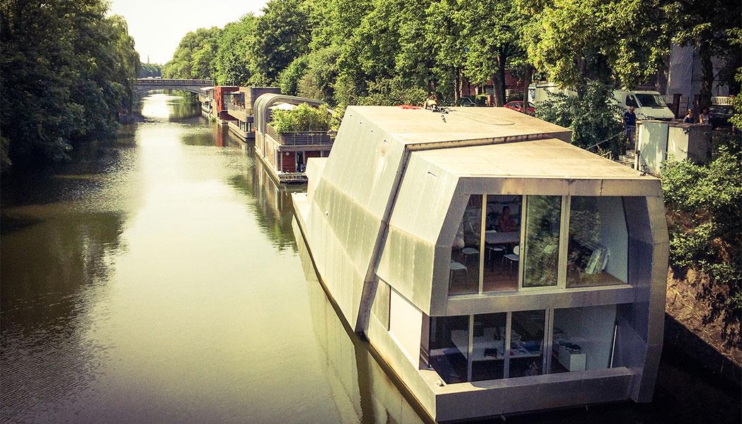 stadtfuehrung hamburg architektur Hausboote am Eilbekkanal
