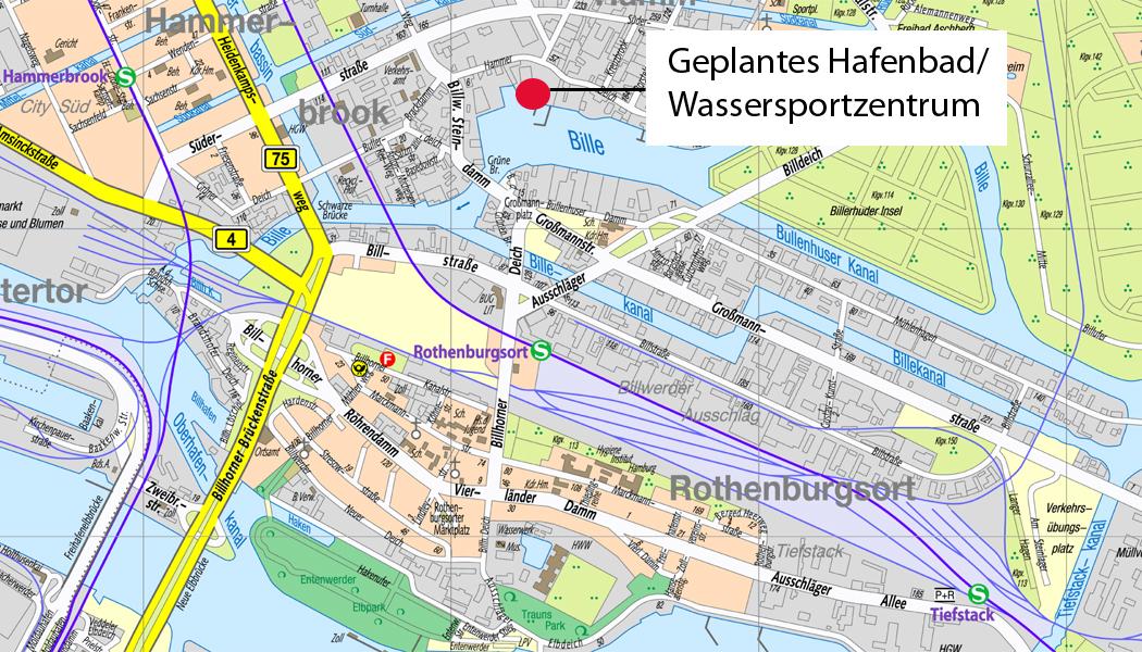 Geplantes Hafenbad / Wassersportzentrum